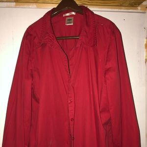Long sleeve, button down collared blouse, red, XL